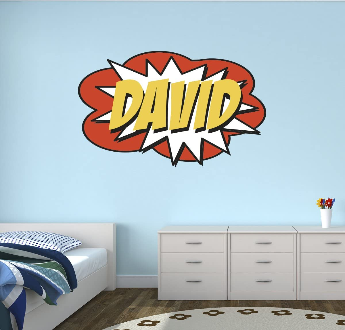 "Custom Comic Name Wall Decal Superheroes Nursery Baby Room Mural Art Decor Vinyl Sticker LD08 (26""W x 16""H)"