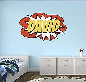 "Custom Comic Name Wall Decal Superheroes Nursery Baby Room Mural Art Decor Vinyl Sticker LD08 (16""W x 10""H)"