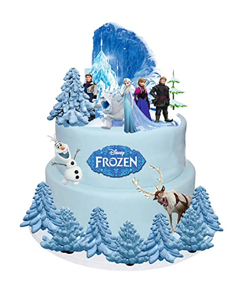 DISNEY FROZEN ELSA ANNA OLAF STANDS UP CAKE TOPPERS WAFER CARD EDIBLE 31 PIECES Amazoncouk Kitchen Home