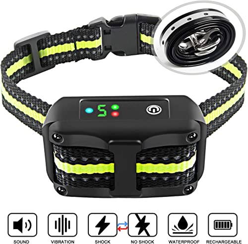 Authen Bark Collar Barking Control Training Collar with Beep Vibration and No Harm Shock 5 Adjustable Sensitivity Control for Small Medium Large Dog