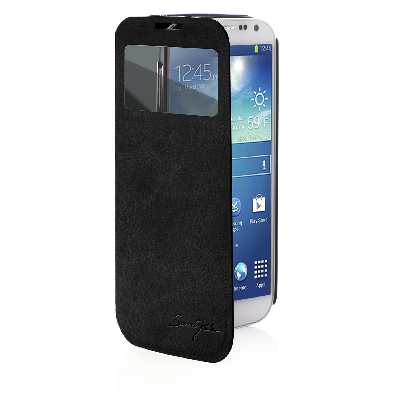 Black Tridea Samsung Galaxy S4 Iv S I9500 100 New All Italian Standing View Cover Folio Premium Case For Cell Phones
