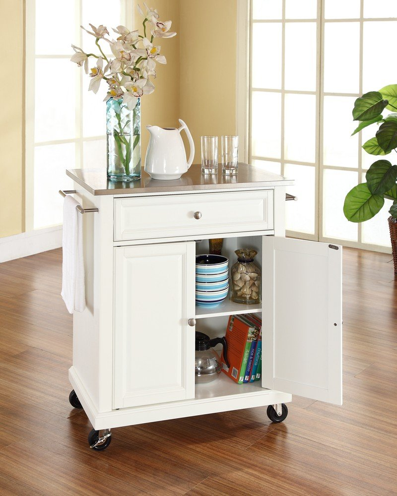 Amazon.com   Crosley Furniture Cuisine Kitchen Island With Stainless Steel  Top   White   Kitchen Islands U0026 Carts