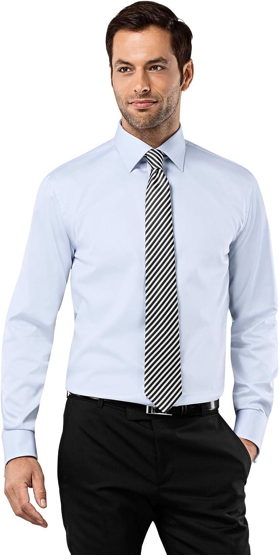 Vincenzo Boretti Camisa de Hombre, Corte Ajuste Recto/Regular-fit, 100% algodón, Manga-Larga, Cuello Kent, puño Reversible, con entredós de Contraste, Lisa, no Necesita Plancha