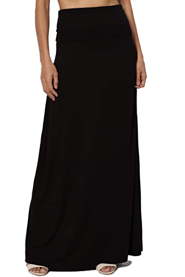 f7e0436f511 TheMogan Women s Casual Solid Draped Jersey Relaxed Long Maxi Skirt Black S