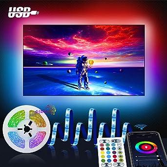 Wifi 3M Tira led Rgb TV con Usb, Maxcio Luces de colores con Brillo Ajustable, Control