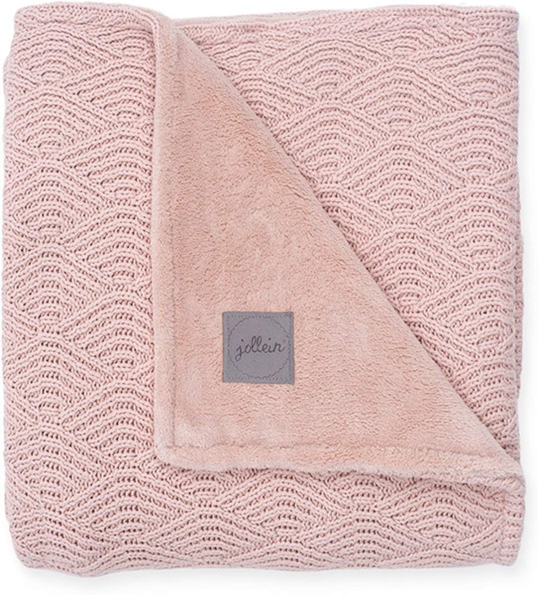 Jollein Strickdecke Babydecke 75x100 River knit cream whithe corale fleece