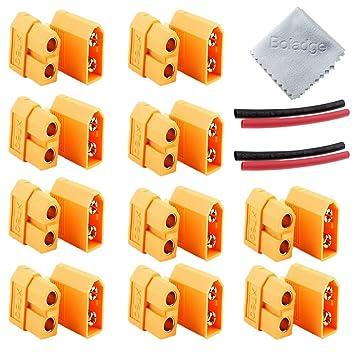 Boladge bujía bañada en Oro de 10 Pares XT-60 XT60 para la batería RC Lipo (Conector Macho 10pcs XT60 + Conector Hembra 10pcs XT60): Amazon.es: Juguetes y ...