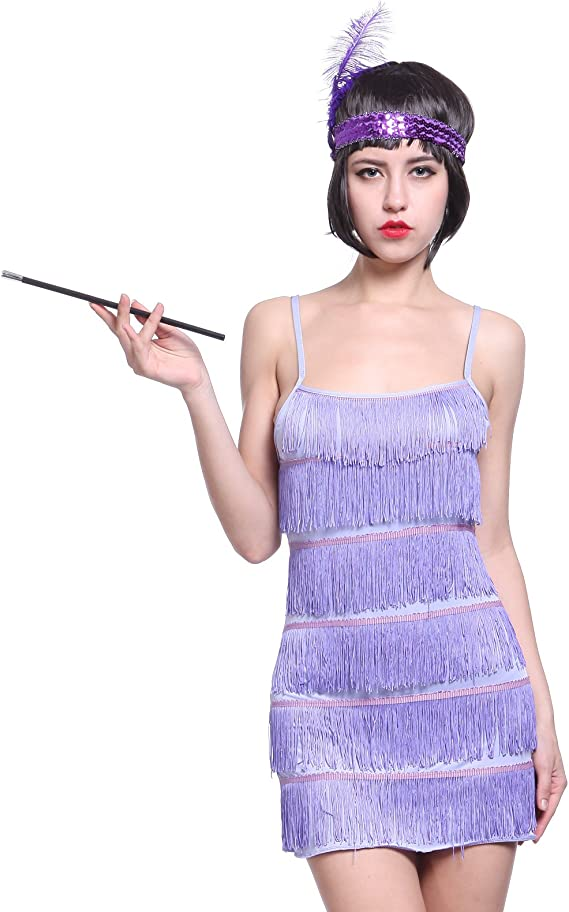 Fringe Style 1920/'s Flapper Girl Charleston Gatsby 6 layer Fancy Dress Costume