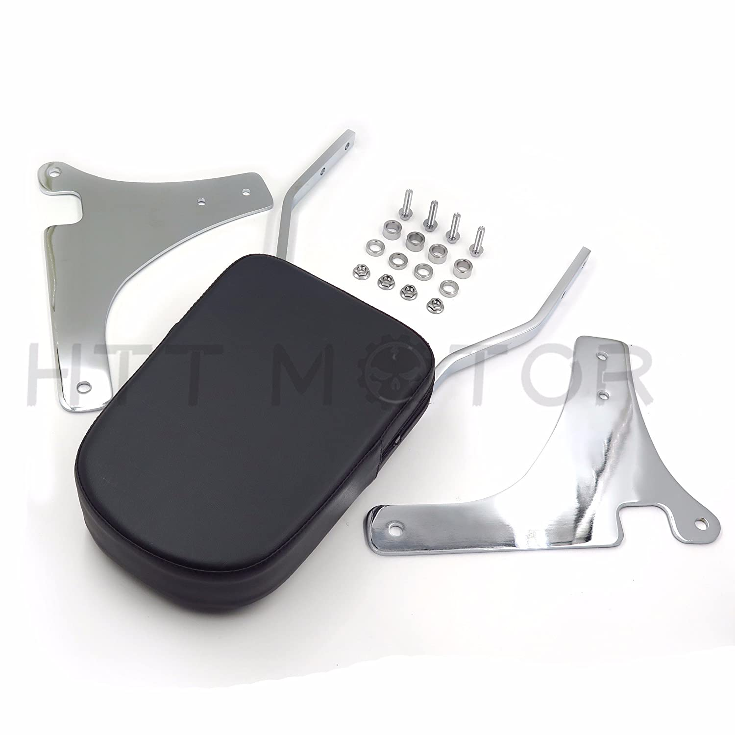 Chrome Skull Backrest Sissy Bar Leather Pad Compatible with Kawasaki Classic//VN800 96-05 US HTTMT MT136+SS001-SA