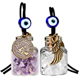 Zodiac Aquarius Angel Wings Small Car Charms or Home Decor Gem Bottles Amethyst Quartz Birthstone Amulets