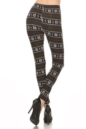 d6948c014fe9 LA12ST Women's Black and White Snow Flake Printed Leggings at Amazon ...