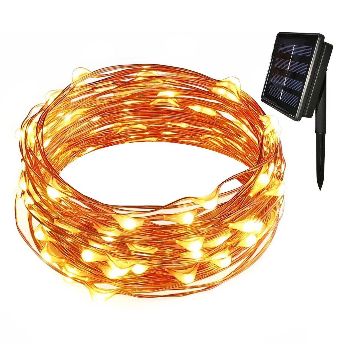Tuokay 12M Cadena de Luces de Alambre de Cobre 100 LED Luces Solares Impermeable para Jardín, Terraza, Patio, Boda, Fiesta, Navidad (Blanco Calido) [Clase de eficiencia energética A+++]