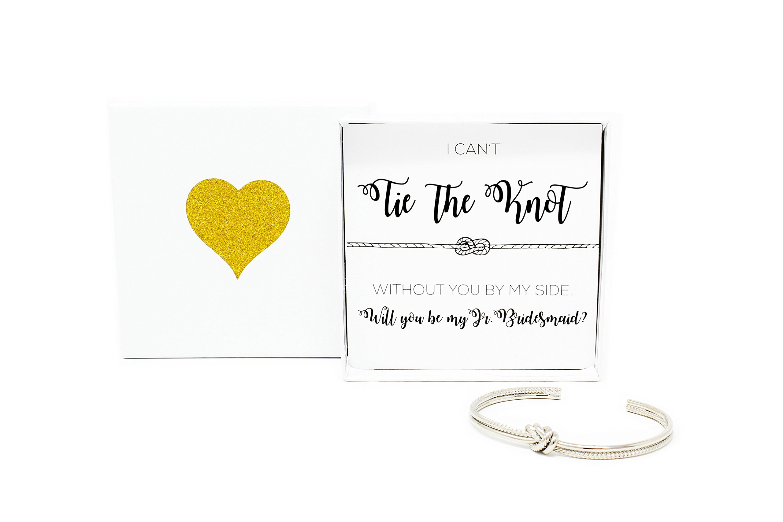 Lemon Honey Jewelry Bridesmaid Gifts - Tie The Knot Jr. Bridesmaid Bracelet w/Gift Box, Sailor Bridal Party Gift Sets, Adjustable Love Knot Cuff Bracelet (Gold, Rose Gold, Silver) (Silver)