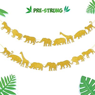 Gold Jungle Safari Animal Banner Zoo Garland Baby Shower Boys Girls Birthday Party Supplies Decorations: Toys & Games