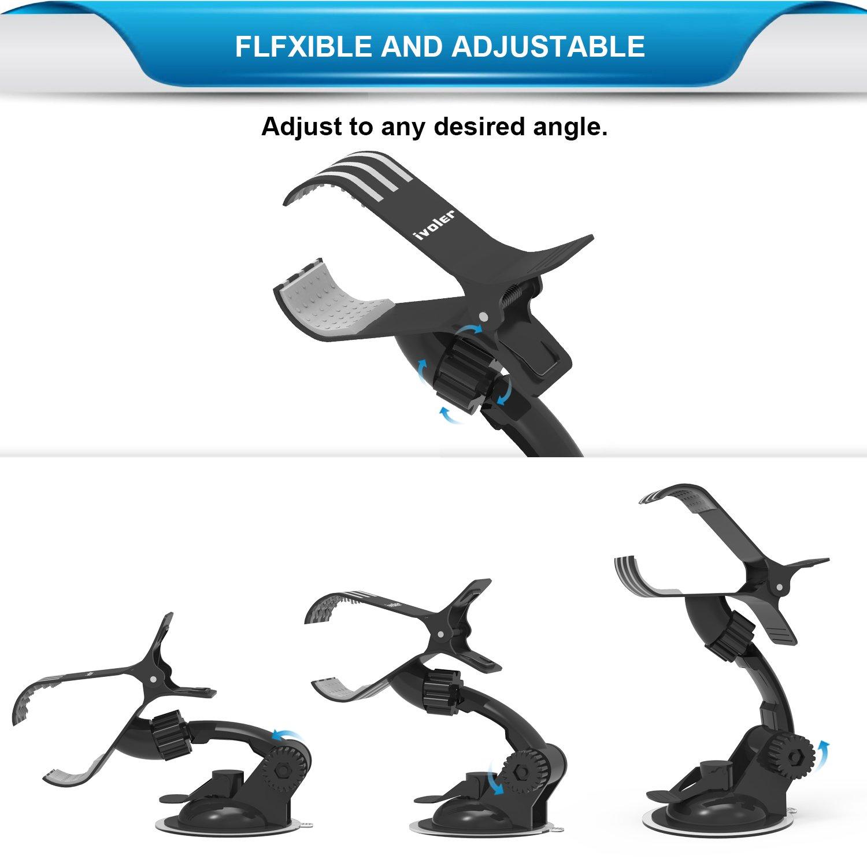Plus // SE // 5s // 5 360 Grados Rotaci/ón para iPhone X // 8 // 8 Plus // 7 // 7 Plus // 6 s s Universal con La Pinza y Brazo Ajustable Samsung Galaxy S9 // S9+ // S8 // S8+ // S7 // S7 Edg iVoler Soporte M/óvil Coche para Parabrisas y Salpicadero // 6