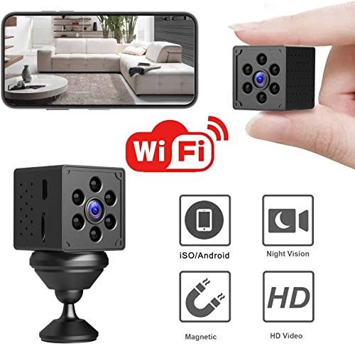 Mini WiFi Spy Camera, Wireless Hidden Camera HD 1080P 24H Live Streaming, Night Vision, Motion Detection, Magnetic Small Nanny Cam Home Security Camera, Longer Battery Life, New Android iOS App