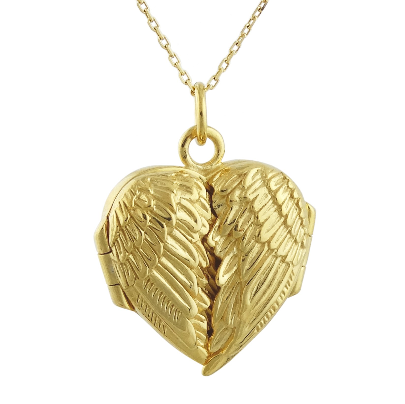FashionJunkie4Life 18K Gold Plated Sterling Silver Angel Wings Heart Locket Necklace, 18'' Chain by FashionJunkie4Life (Image #1)