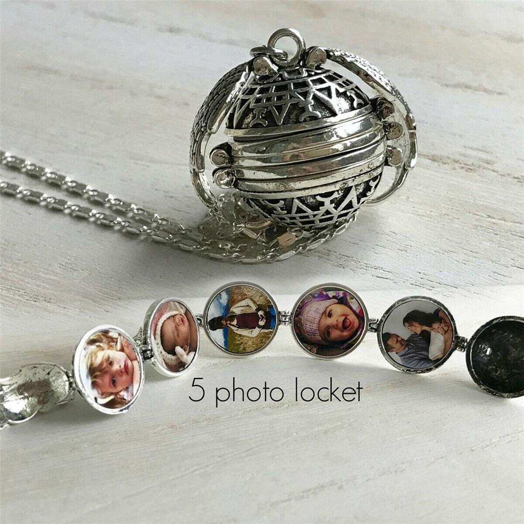 CYCTECH 6-Picture Expanding Photo Ball Locket Necklace Pendant with Chain Silver
