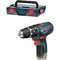 Bosch Professional 06019B690E Perceuses-visseuses à percussion sans-fil GSB 12V-15 Solo Click&Go L-BOXX, Bleu