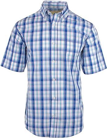 Fenside Country Clothing Burwell - Camisa de verano para hombre de manga corta de fácil cuidado, polialgodón, cuadros brillantes, corte regular Azul azul L/112/ 117 cm: Amazon.es: Ropa y accesorios