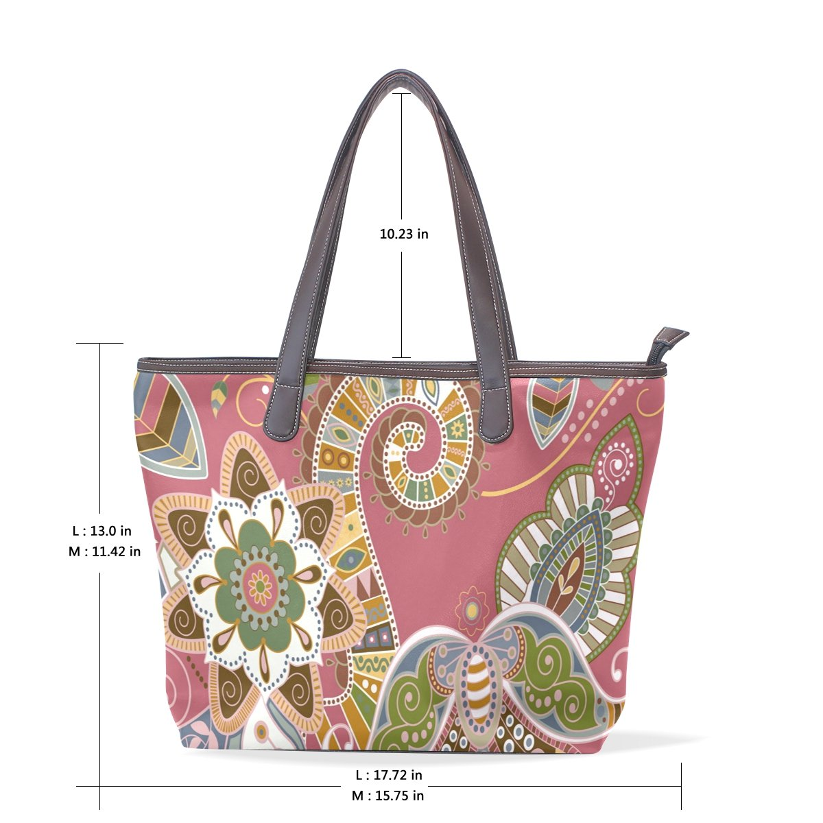 Ye Store Red Paisley Pattern Lady PU Leather Handbag Tote Bag Shoulder Bag Shopping Bag