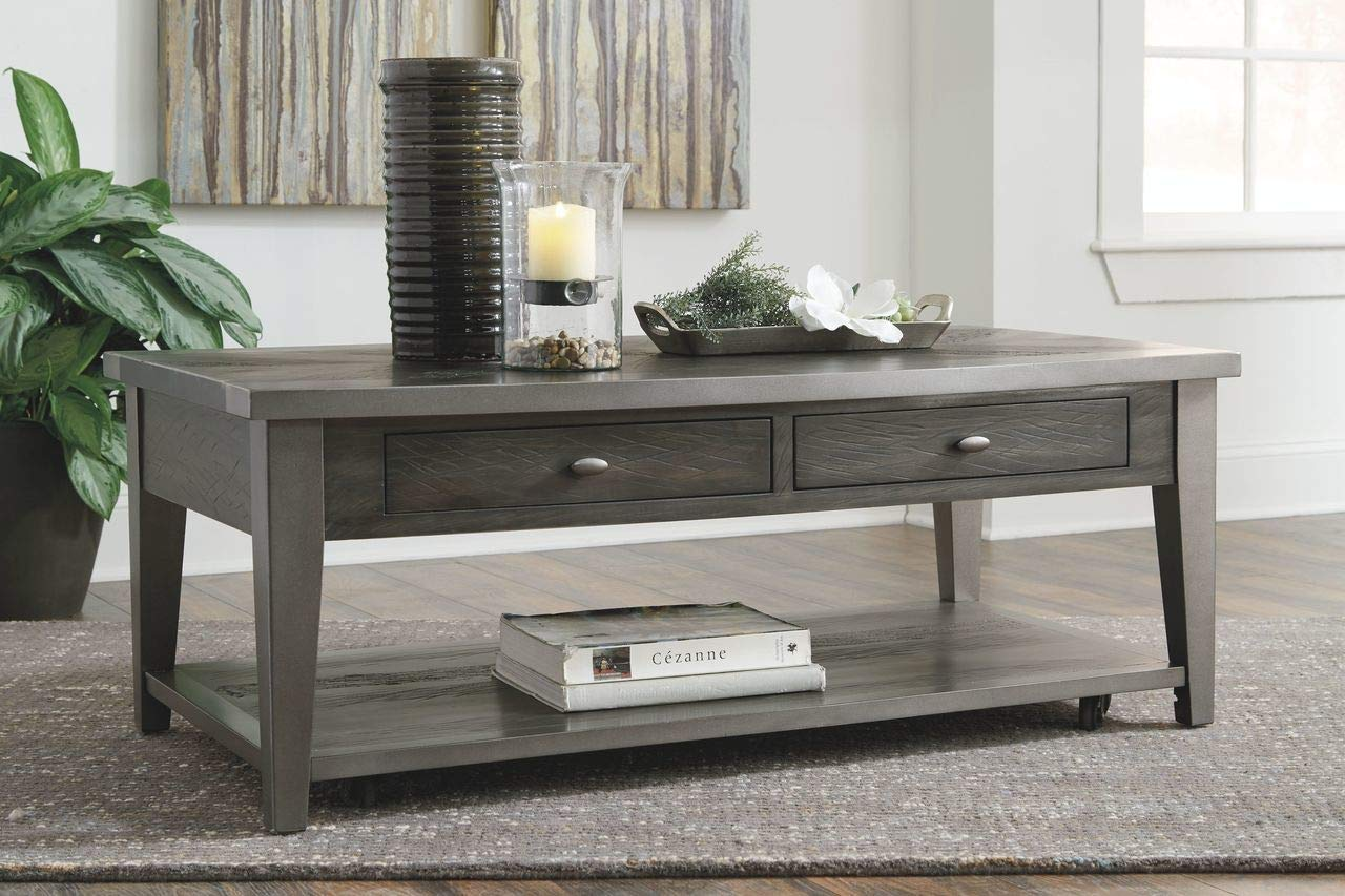 17d609519834db Amazon.com: Ashley Furniture Signature Design T646-1 Branbury Rectangular  Cocktail Table Gray: Kitchen & Dining