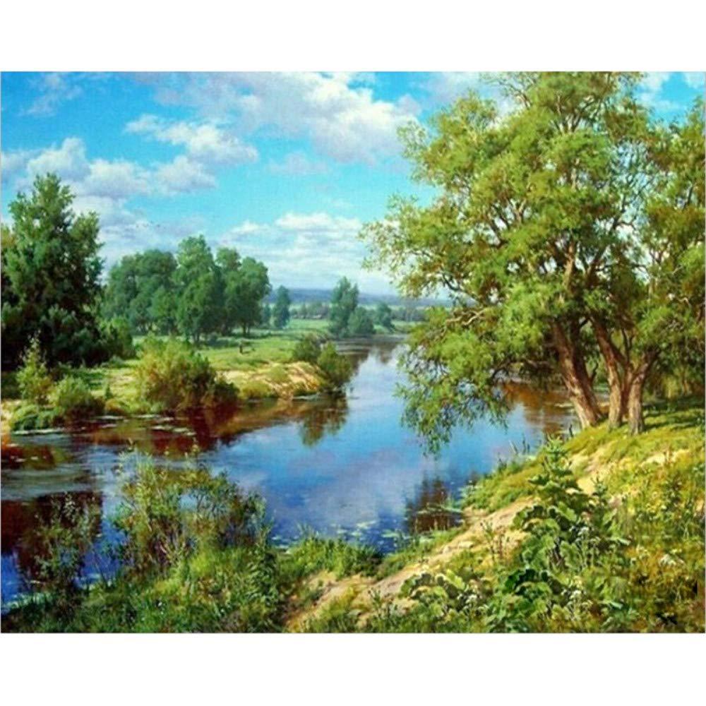 EUFJSDHF Bricolaje Pintura Digital Bosque Río Paisaje Natural DIY Pintura Digital por Números Arte De La Pared Moderna Pintura De La Lona Decoración para El Hogar 40X50 Cm