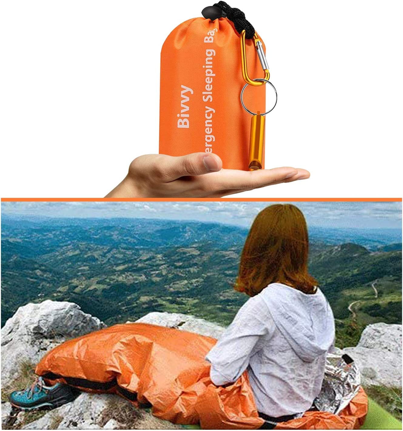 AMOYON Emergency Bivy Sack, Survival Sleeping Bag Emergency Blanket Lightweight and Compact Survival Gear for Outdoor, Hiking, Camping with Portable Drawstring Bag + Whistle + Carabiner(orange-one pack) : Sports & Outdoors