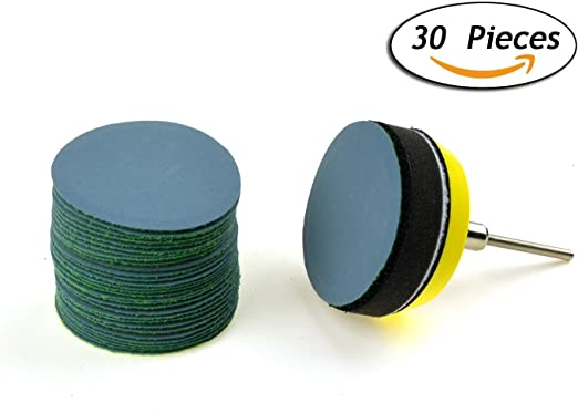 30-Pack 2-Inch 120 Grit Aluminum Oxide White Dry Hook and Loop Sanding Discs with a 6mm Shank Backing Pad Soft Sponge Buffering Pad for DIY Woodworking
