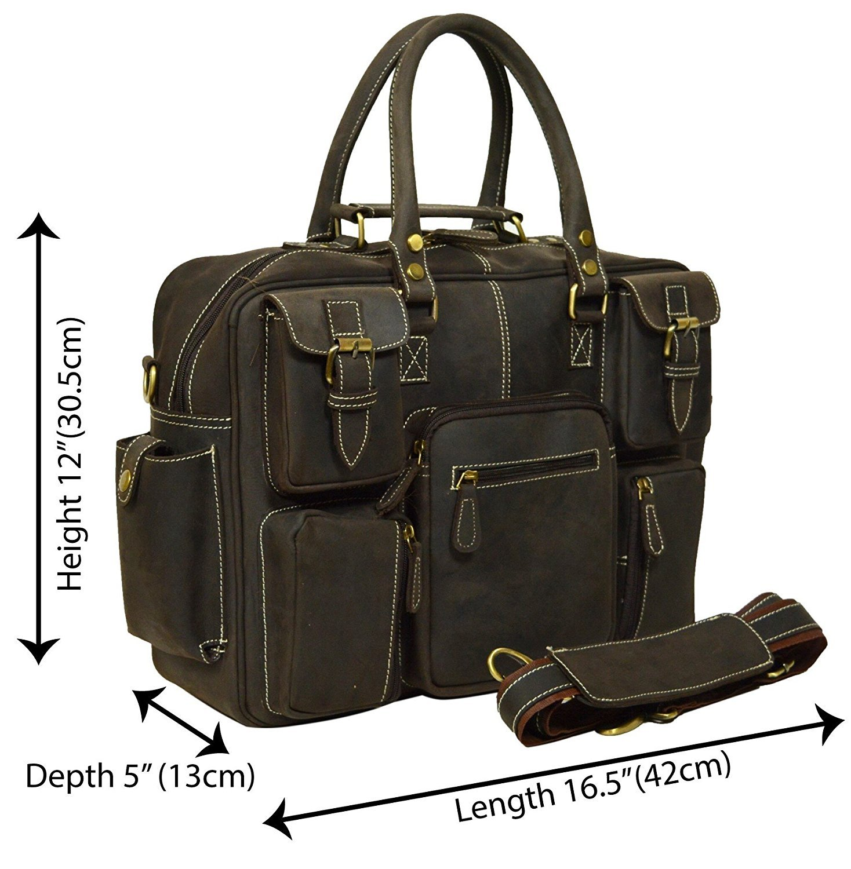 Men's Crazy-horse Leather Briefcase Luggage Handbag M Shoulder Bag, Fit 16.5'' Laptop