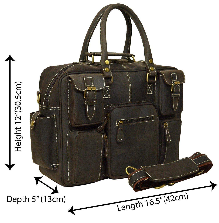 Men's Crazy-horse Leather Briefcase Luggage Handbag M Shoulder Bag, Fit 16.5'' Laptop by The Leather Artist