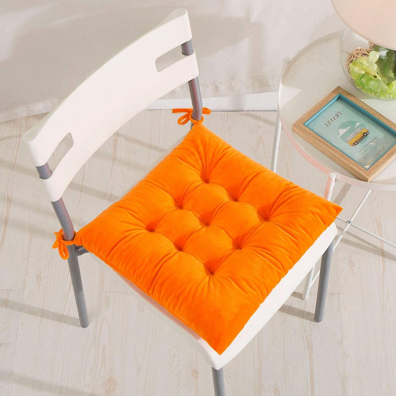 Patio Furniture Accessories Black Zanyb 2 Pack Velvet Chair Pads Square Chair Cushion Outdoor Floor Pillows Meditation Pillow For Seating Patio Office Plain Seat Pad Dining Room Garden Kitchen Chair Velvet