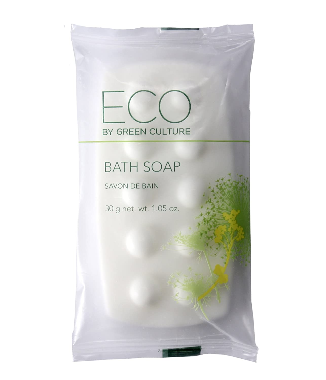 Eco by Green Culture Hotel Amenities Body Soap Bar, 1oz, 100 per case (100 Pack)
