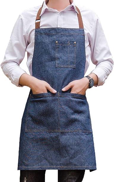 Yiswear Unisex adjustable multi pocket denim apron for Chef Kitchen BBQ and Studio