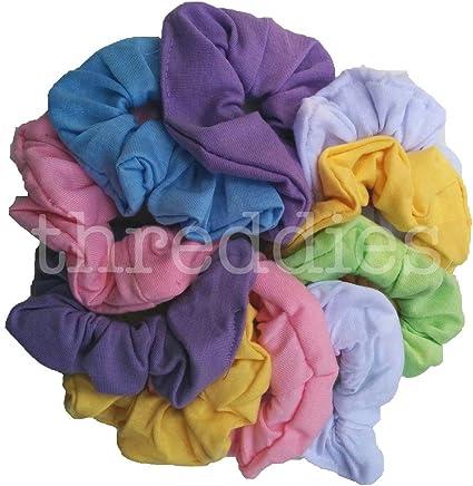 Cotton Scrunchie Set, Set of 10 Soft Cotton Scrunchies (Pastel Assortment) by Threddies: Amazon.es: Belleza