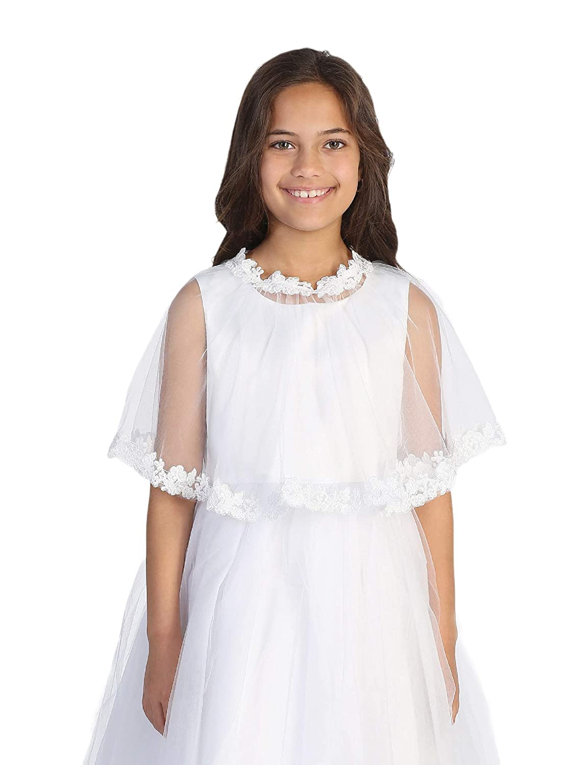 Tip Top Kids Little Girls White Floral Embroidered Lace Tulle Cape 2-6