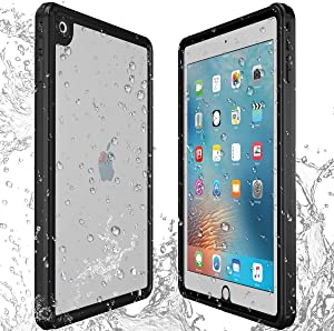 AICase iPad 9.7 inch 2017/2018 Waterproof Case, IP68 Waterproof 360 Degree All Round Protective Ultra Slim Thin Dust/Snow Proof with Lanyard Shockproof Case for Apple iPad 5th 6th Generation