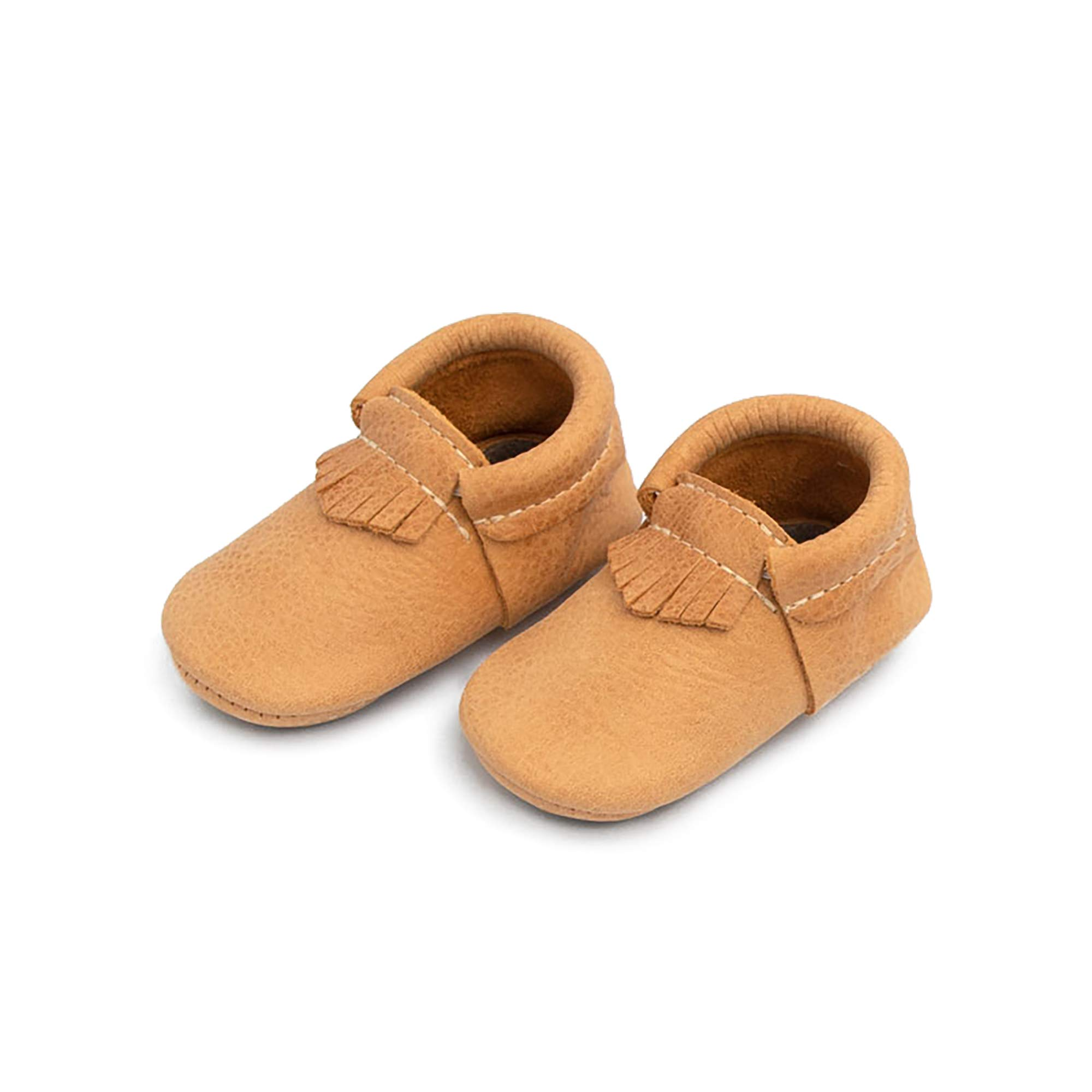 Freshly Picked - Rubber Mini Sole Leather City Moccasins - Toddler Girl Boy Shoes - Size 7 Beehive State Tan by Freshly Picked
