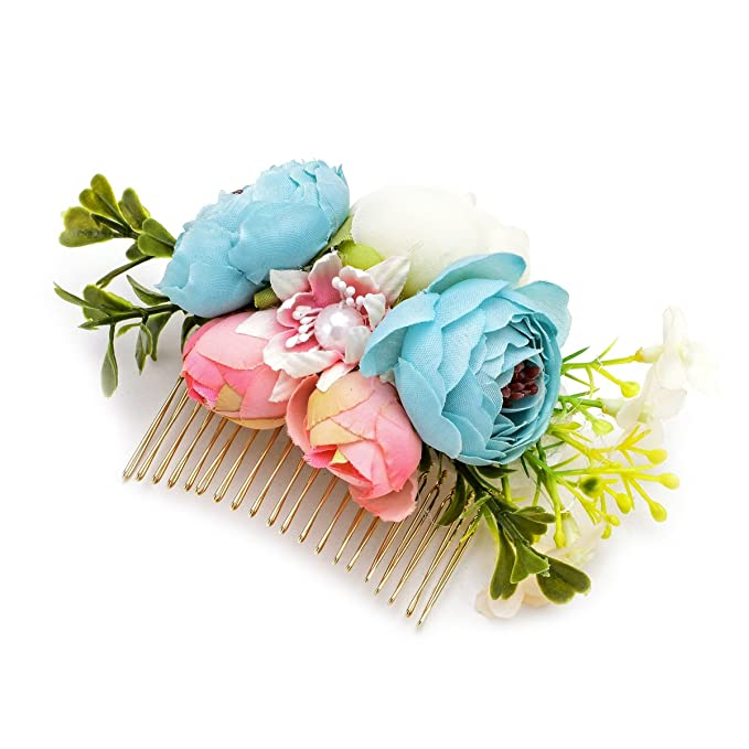 50s Hair Bandanna, Headband, Scarf, Flowers | 1950s Wigs DreamLily Wedding Bridal Camellia Flower Hair Comb Woodland Hair Pins Headpiece JZ05 $9.99 AT vintagedancer.com