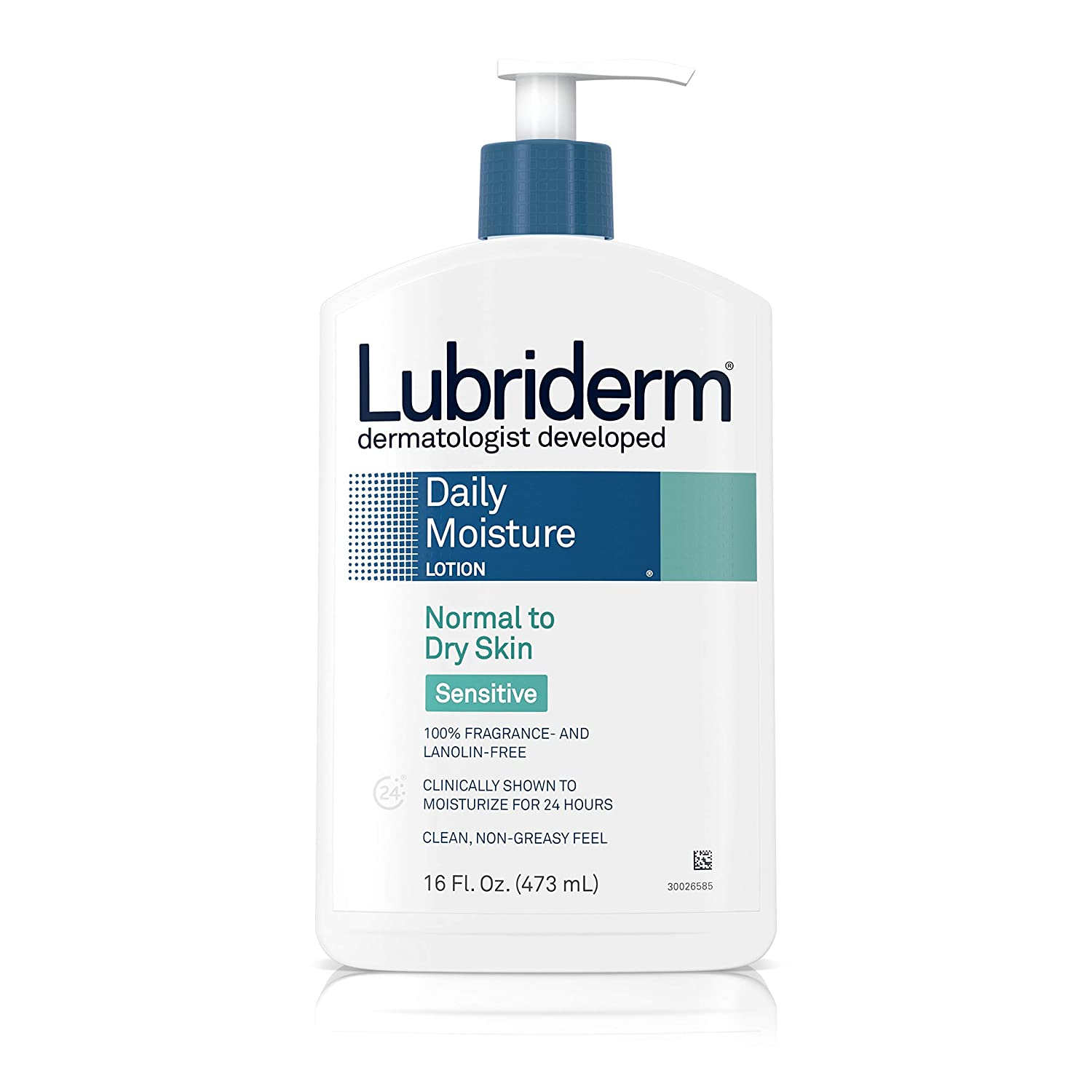 Lubriderm Daily Moisture Body Lotion for Sensitive, Dry Skin, Enriched with Vitamin B5, Dye and Lanolin Free, Unscented and Non-Greasy, 16 fl. oz
