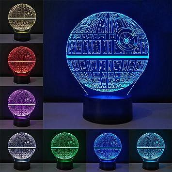 3d illusion lampe star wars nachtlicht 7 farben ndern touch control optische stimmungslicht nachtlampe 3d - Star Wars Todesstern Lampe
