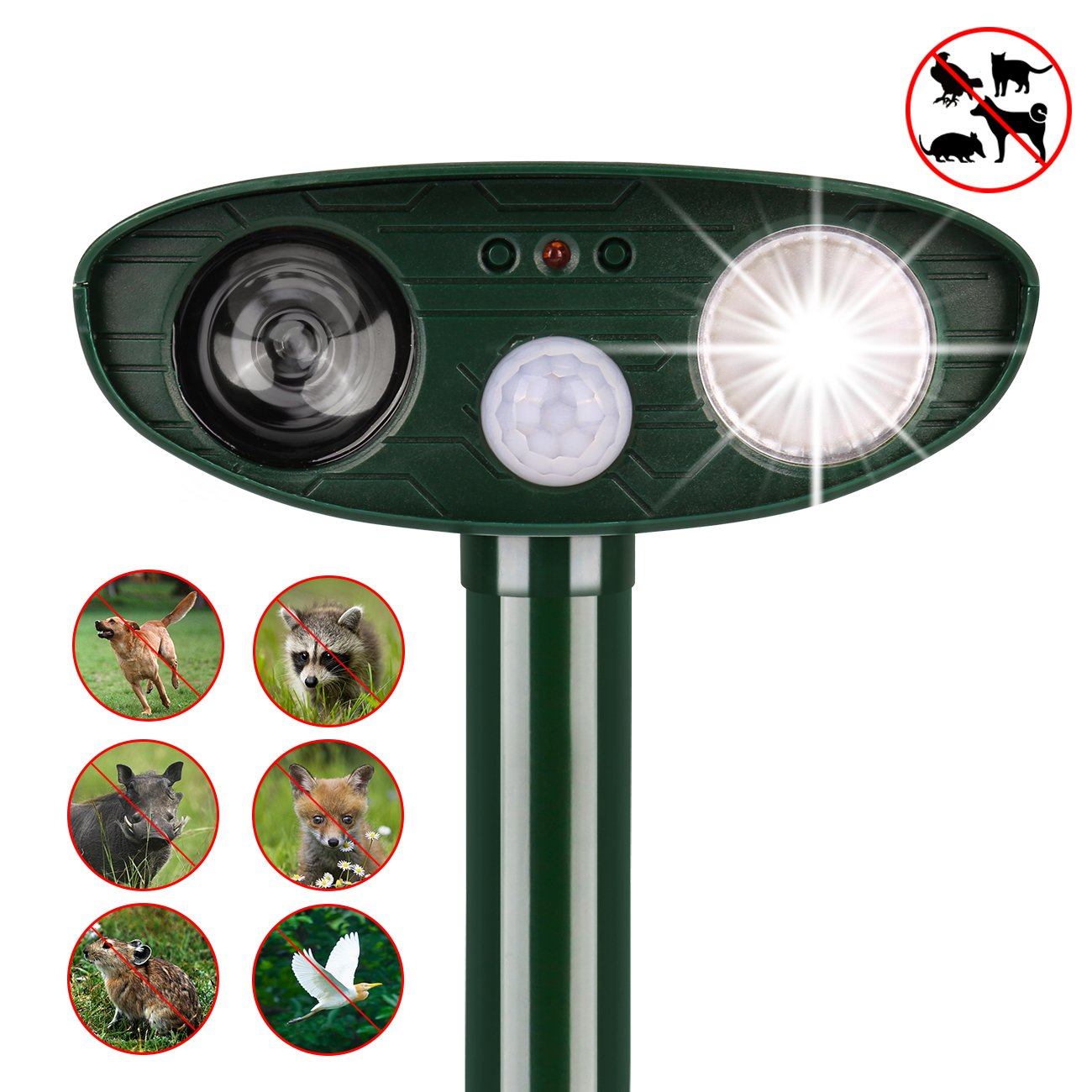 instecho Dog Repellent, Outdoor Solar Powered and Weatherproof Ultrasonic Dog/Cat/Mosquito Repeller