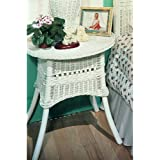 Spice Island Wicker 24 in. Loop and Ball Table - White
