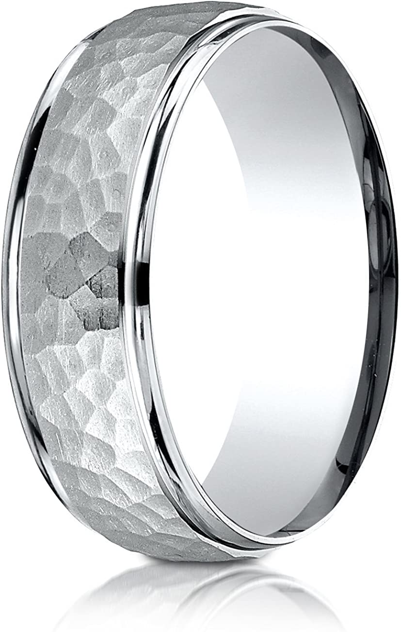 Benchmark Platinum Comfort-Fit 7mm High Polish Edge Hammered Center Design Band, (Sizes 6-13)