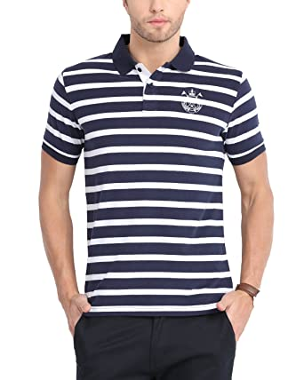 7c1b91c9 Blue Striped Polo T-shirt from Classic Polo for Men: Amazon.in: Clothing &  Accessories