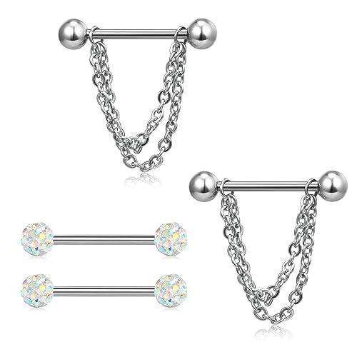 Zungenpiercing STERN STAR Silber aus Chirurgenstahl Edelstahl Piercing Barbell