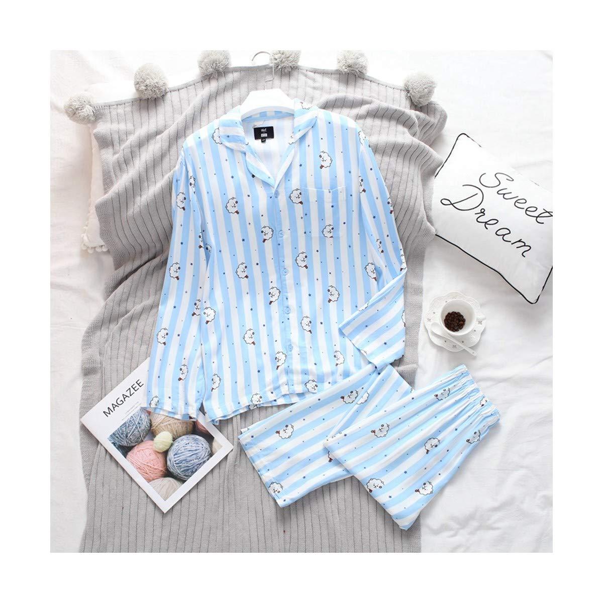 TENGTENGCAI Lingerie Pyjama Long Sleeve Shirt V Nighty Homme Femme Bedgown Bleu Clair M
