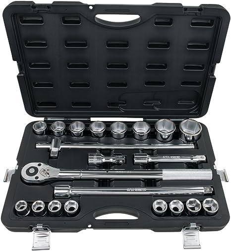 Version longue KS Tools 911.1961 Finition chrom/ée satin/ée L140mm du module 712.5038 En Chrome Vanadium Douille tournevis 6 pans m/âles 11mm 1//2