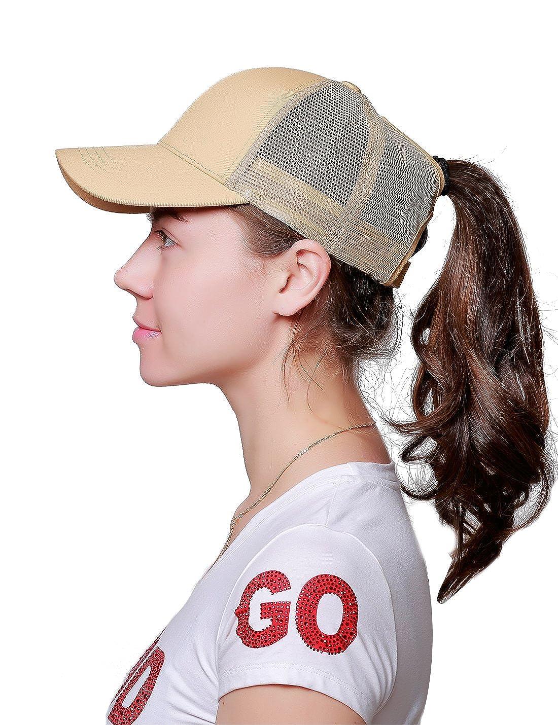 0b4dbccf Alljoin Ponytail Messy Buns Trucker Ponycaps Plain Baseball Visor Cap Dad  Hat