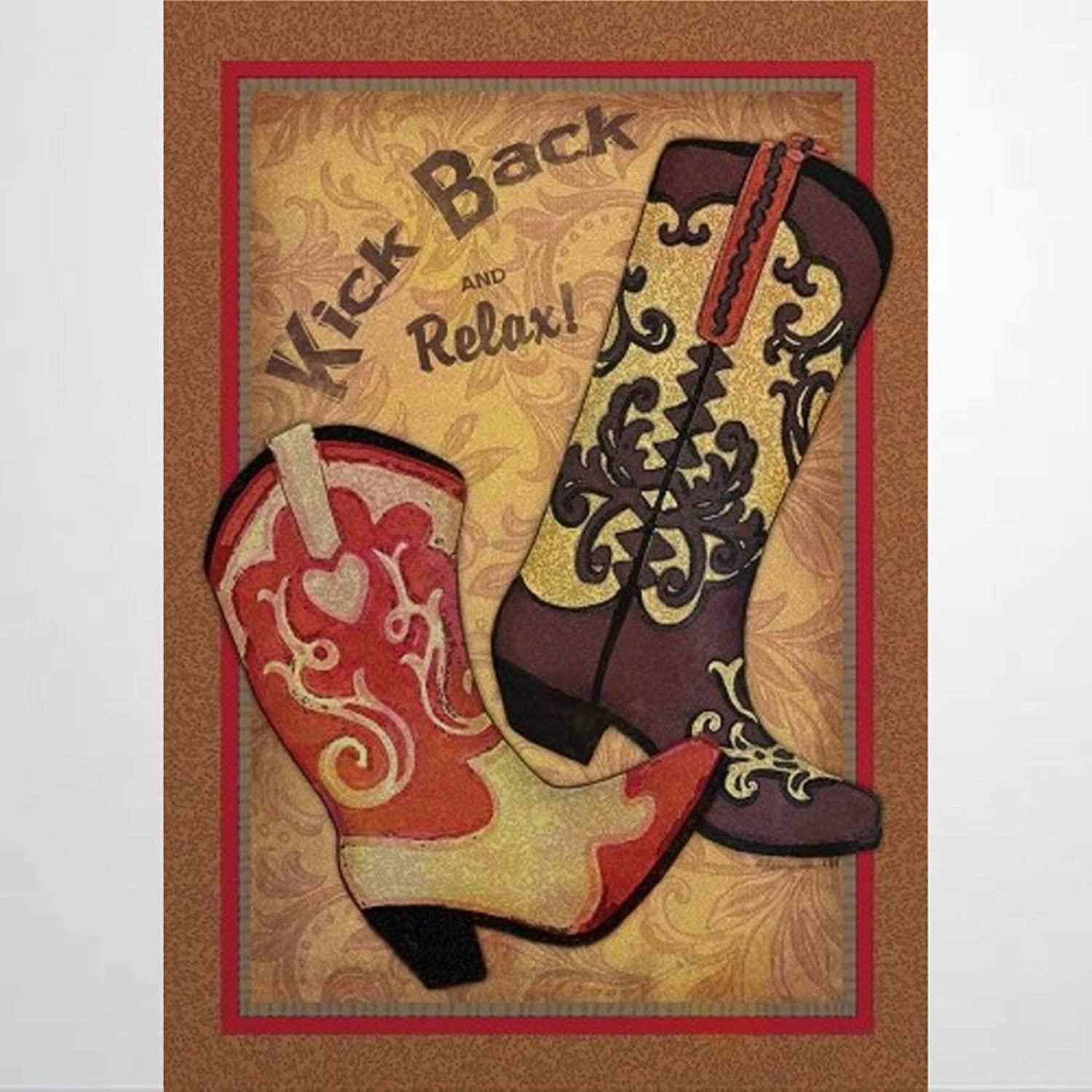 BYRON HOYLE Country Cowboy Boots Garden Flag Decorative Holiday Seasonal Outdoor Weather Resistant Double Sided Print Farmhouse Flag Yard Patio Lawn Garden Decoration 12 x 18 Inch478188